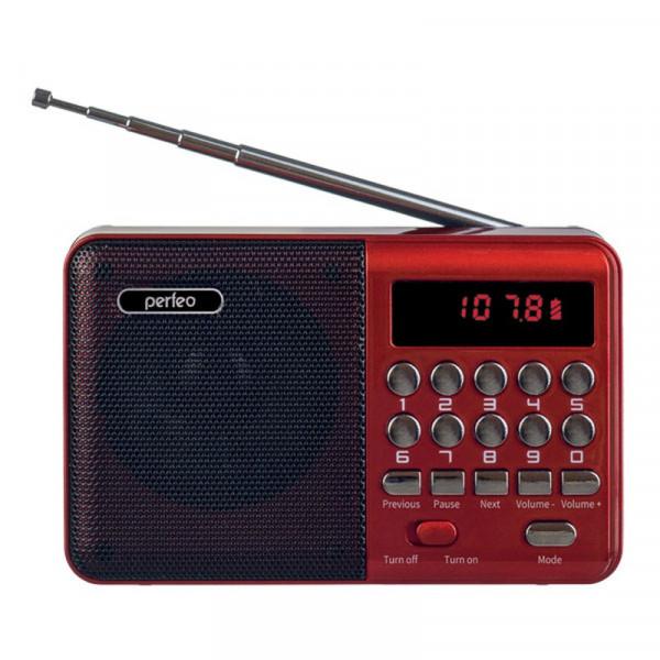i90-RED Perfeo мини-аудио PALM FM+ (87.5-108МГц), MP3, USB, красный