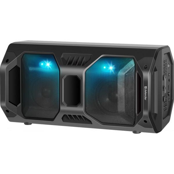 Колонка портативная Defender Rage Bluetooth, 50 Вт, USB/FM/LED, TWS, чёрный