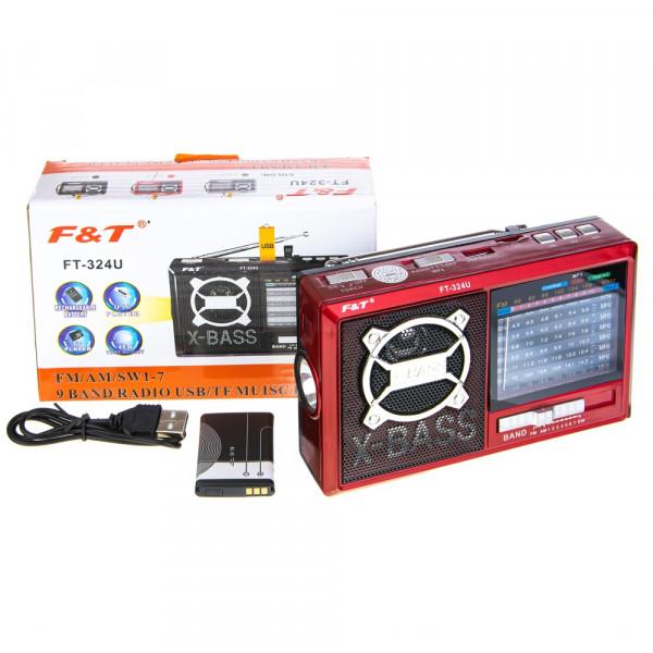 Радиоприёмник F&T FT-324U USB/TF/FM/фонарь, красный