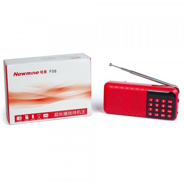 Радиоприемник Newmine F58 microSD USB FM (2 акб 18650), красный