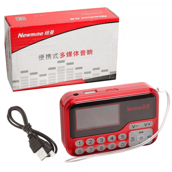 Радиоприемник Newmine M65 microSD USB AUX FM (акб 18650), красный