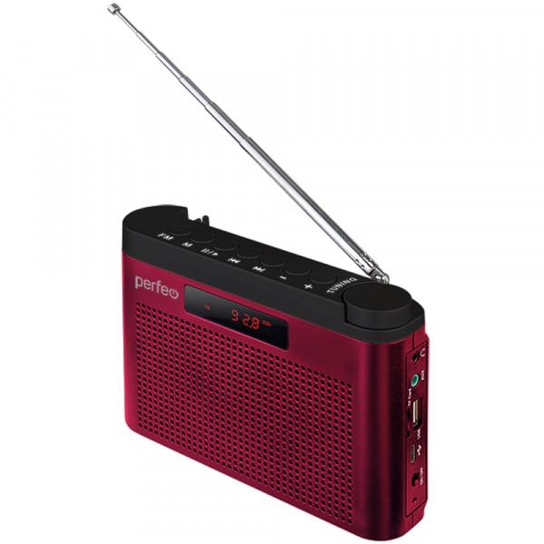 I70RED Perfeo мини-аудио Тайга, УКВ+FM, MP3, USB, TF, AUX, 1800 mAh, бордовый