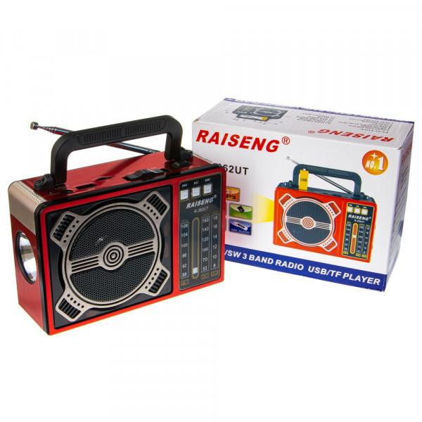 Радиоприемник RAISENG R-262UT USB/TF/FM/фонарь (220V, 2xD) красный