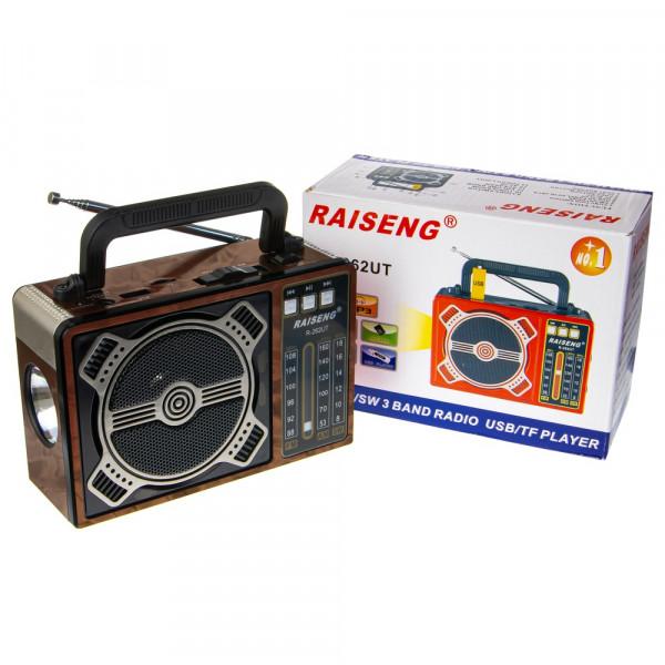 Радиоприемник RAISENG R-262UT USB/TF/FM/фонарь (220V, 2xD) под дерево