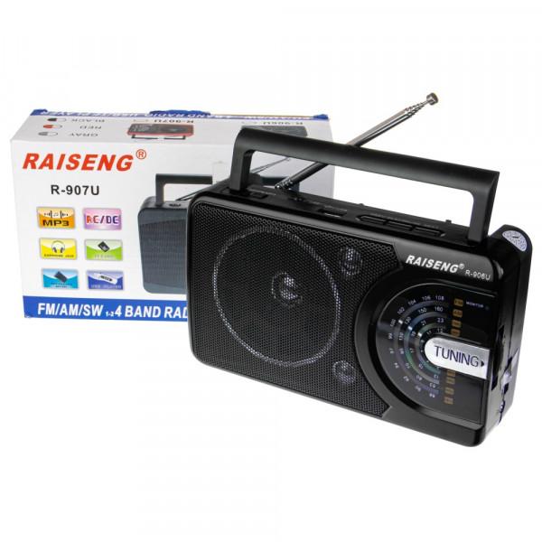 Радиоприёмник RAISENG R-906U USB/TF/AUX/FM, чёрный