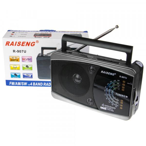 Радиоприёмник RAISENG R-907U USB/TF/AUX/FM, серый