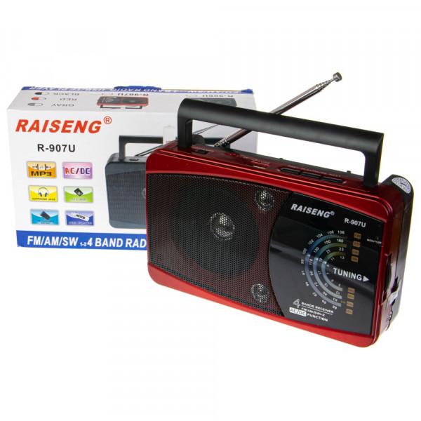 Радиоприёмник RAISENG R-907U USB/TF/AUX/FM, красный