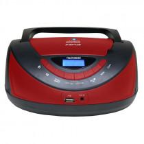Аудиомагнитола Telefunken TF-CSRP3497B (2Вт/CD/CDRW/MP3/FM/USB), чёрн/красный
