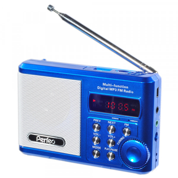 PF-SV922BLU Perfeo мини-аудио Sound Ranger, УКВ+FM, MP3 (USB/microSD), AUX, BL-5C 1000 мАч, синий
