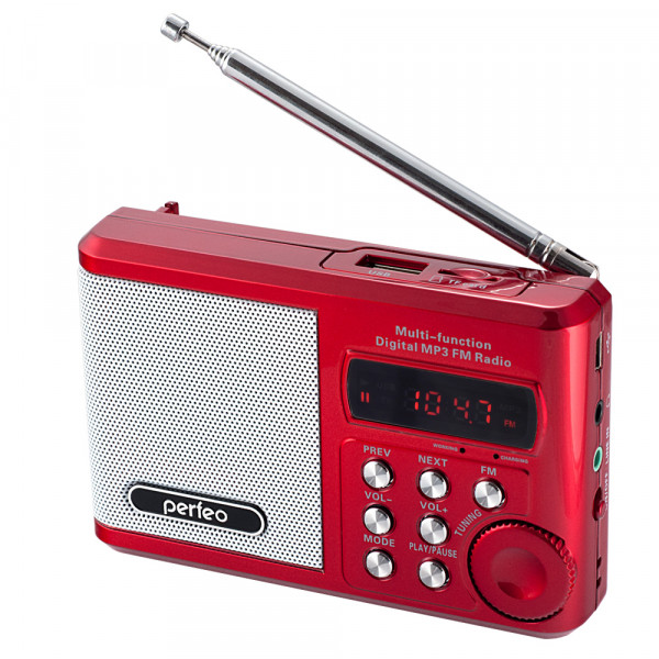 PF-SV922RED Perfeo мини-аудио Sound Ranger, УКВ+FM, MP3 (USB/microSD), AUX, BL-5C 1000 мАч, красный