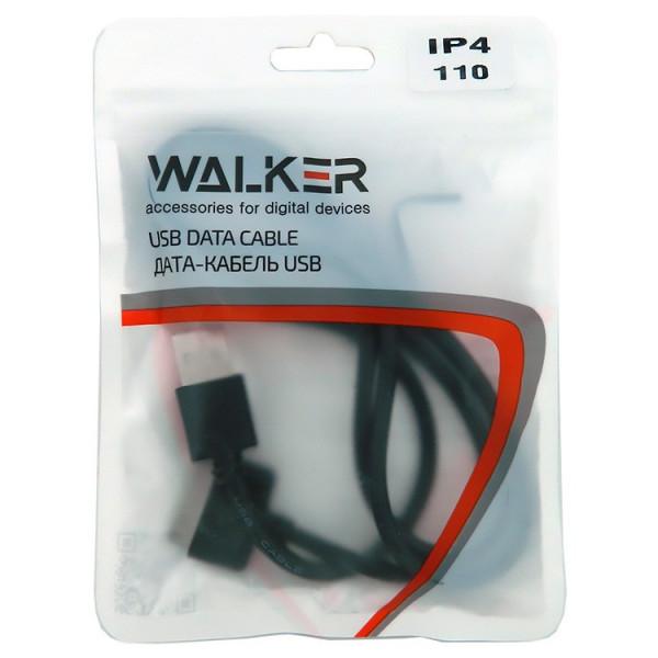 Кабель USB- 30-pin WALKER C110, чёрный пластик штекер, 1м, круглый чёрный ПВХ, пакет