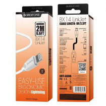 Кабель USB- 8-pin Borofone BX14, белый TPE штекер, 2м, круглый белый ПВХ