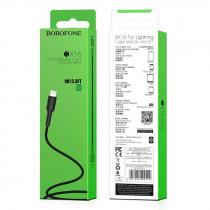 Кабель USB- 8-pin Borofone BX16, чёрный пластик штекер, 1м, круглый чёрный ПВХ