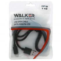 Кабель USB- 8-pin WALKER C110, чёрный пластик штекер, 1м, круглый чёрный ПВХ, пакет