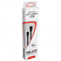 Кабель USB- 8-pin WALKER C320, белый пластик штекер, 1м, плоский белый TPU, 2.1 A