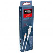 Кабель USB- 8-pin WALKER C565, белый пластик штекер, 1м, круглый белый TPE, 2.4 A