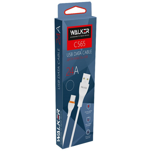 Кабель USB- micro-USB WALKER C565, чёрный пластик штекер, 1м, круглый чёрный TPE, 2.4 A
