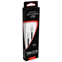 Кабель USB- 8-pin WALKER C710, серебро металл штекер, 1м, плоский чёрный TPE, 2.4 A