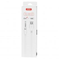 Кабель USB- 8-pin XO NB103, белый пластик штекер, 1м, круглый белый ПВХ, 2.1 A