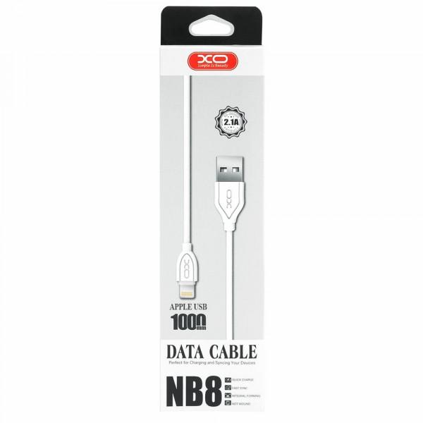 Кабель USB- 8-pin XO NB008, белый пластик штекер, 1м, круглый белый TPE, 2.1 A