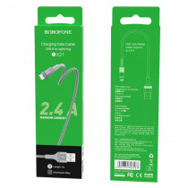 Кабель USB- 8-pin Borofone BX21, серый металл штекер, 1м, круглый серый ткань, 2.4 A