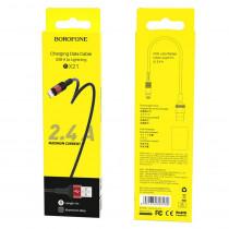 Кабель USB- 8-pin Borofone BX21, красный металл штекер, 1м, круглый красный ткань, 2.4 A