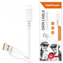 Кабель USB- 8-pin GoPower GP01L, белый пластик штекер, 1м, круглый белый ПВХ, 2.4 A
