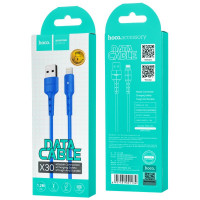 Кабель USB- 8-pin Hoco X30, индикатор, синий пластик штекер, 1.2 м, круглый синий TPE, 2 A