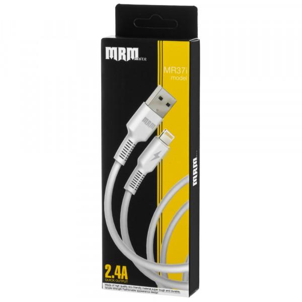 Кабель USB- 8-pin MRM MR37i белый пластик штекер, 1м, круглый белый ПВХ, 2.4 A