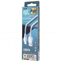 Кабель USB- 8-pin REMAX LESU PRO RC-160i, белый пластик штекер, 1 м, круглый белый ПВХ