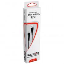 Кабель USB- 8-pin WALKER C305, чёрный пластик штекер, 1м, круглый чёрный ПВХ