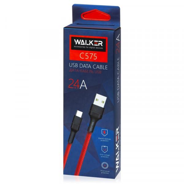 Кабель USB- Type-C WALKER C575, чёрный пластик штекер, 1м, круглый красный ткань