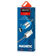 Кабель USB- Type-C WALKER C590, магнитный, красный металл штекер, 1м, круглый красный ткань