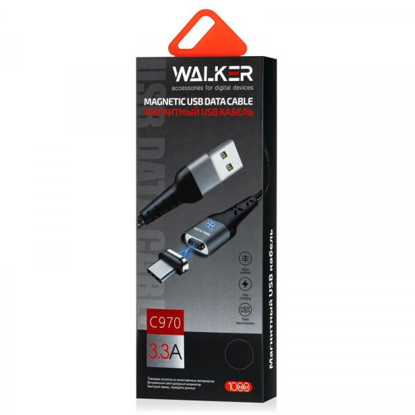 Кабель USB- micro-USB WALKER C970, магнитный, серебро металл штекер, 1 м, круглый чёрный нейлон