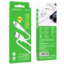 Кабель USB- 8-pin Borofone BX43, белый пластик штекер, 1м, круглый белый ПВХ, 2.4 A