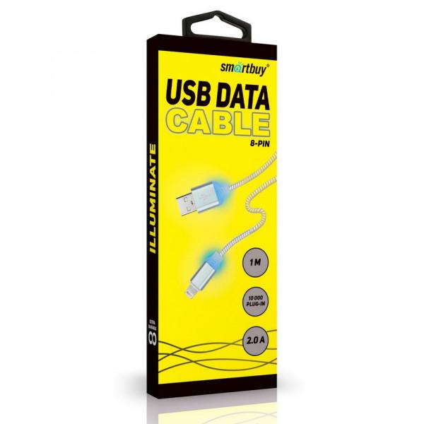 Кабель USB- 8-pin SmartBuy iK-512ssbox, с индикацией, 1 м, золото