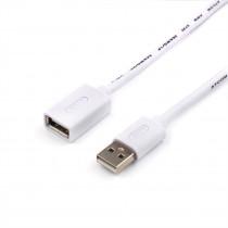 Кабель ATcom AT3788 USB 2.0 A вилка - А розетка, 0,8 м, белый