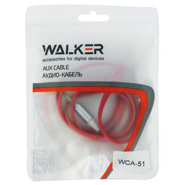 Кабель AUX (3.5x3.5 мм) серебро пластик штекер, 1м, плоский красный ПВХ, WALKER WCA-051, пакет