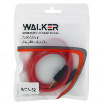Кабель AUX (3.5x3.5 мм) чёрный пластик штекер, 1м, круглый красный ПВХ, WALKER WCA-082, пакет