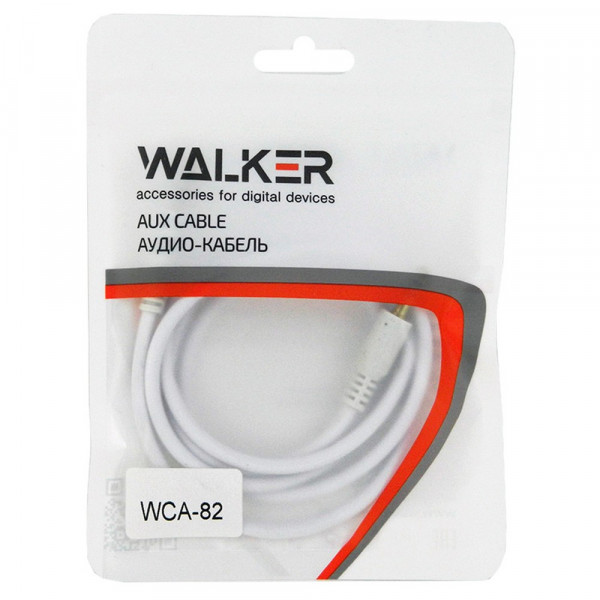 Кабель AUX (3.5x3.5 мм) белый пластик штекер, 1м, круглый белый ПВХ, WALKER WCA-082, пакет