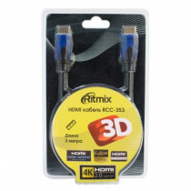 Кабель (RCC-353) Ritmix HDMI-A вилка - HDMI-A вилка, позолоченные контакты, 3м