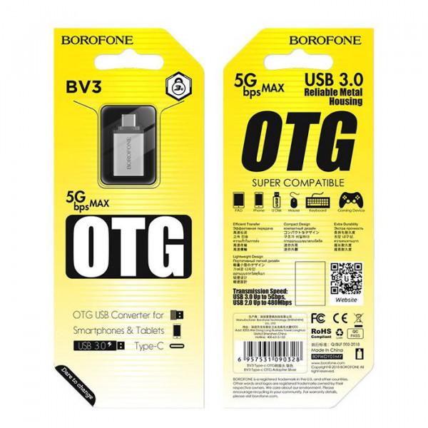 OTG адаптер USB -Type-C, Borofone, BV3, серебро