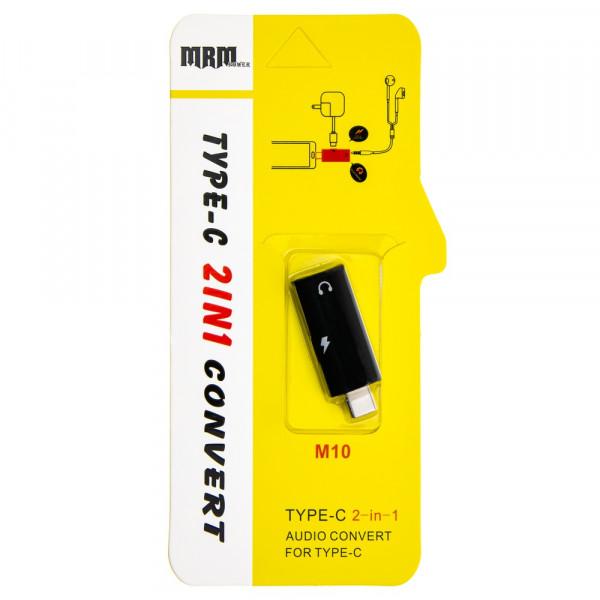 Переходник USB Type-C - Type-C+Jack 3.5 мм, M10, чёрный