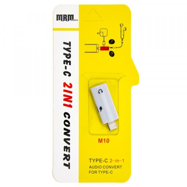 Переходник USB Type-C - Type-C+Jack 3.5 мм, M10, белый