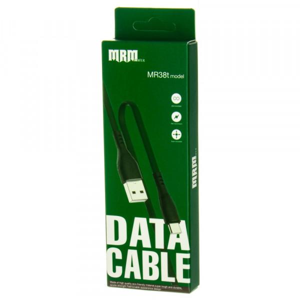 Кабель USB- Type-C MRM MR38t, чёрный пластик штекер, 1м, плоский зелёный силикон, 2.4 A