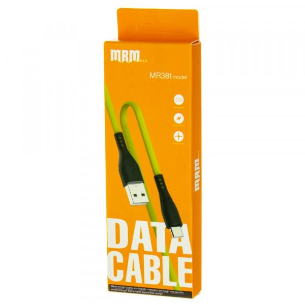 Кабель USB- Type-C MRM MR38t, чёрный пластик штекер, 1м, плоский жёлтый силикон, 2.4 A