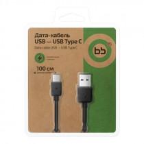 Кабель USB- Type-C BB 005-001, чёрный пластик штекер, 1м, круглый чёрный ПВХ