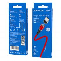 Кабель USB- Type-C Borofone BU16, магнитный, красный металл штекер, 1,2м, круглый красный нейлон, 3.0A