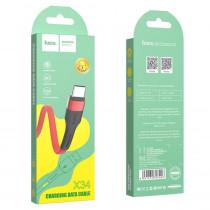 Кабель USB- Type-C Hoco X34, красный металл штекер, 1 м, плоский красный TPE