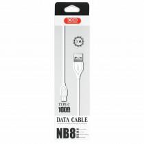 Кабель USB- Type-C XO NB008, белый пластик штекер, 1м, круглый белый TPE, 2.1 A
